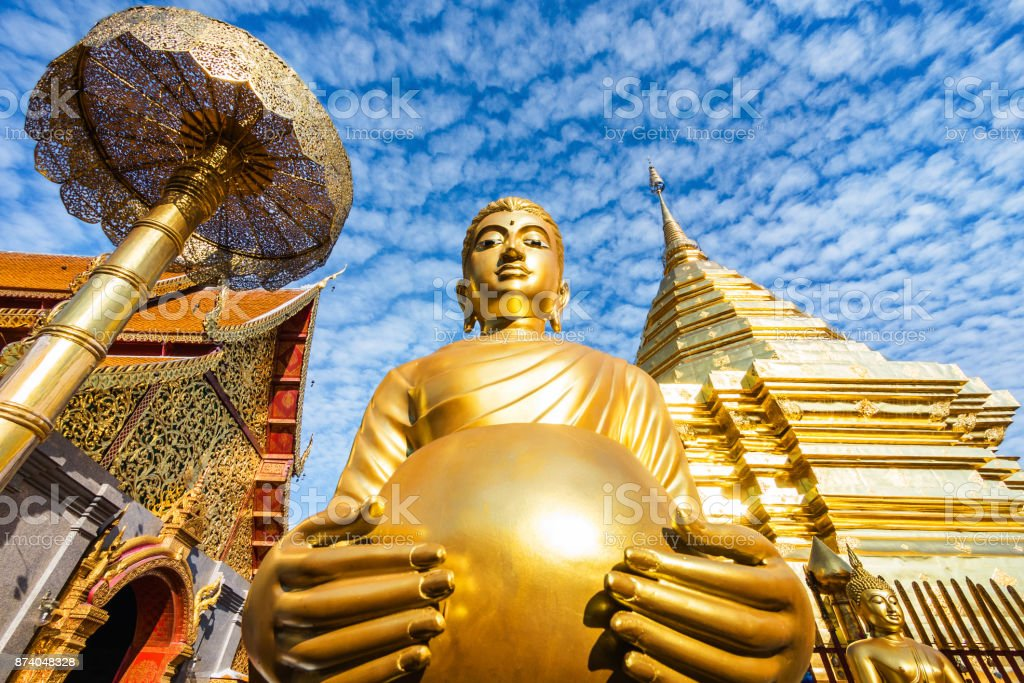 Wat Phra That Doi Suthep Buddhist Temple in Chiang Mai, Thailand stock photo