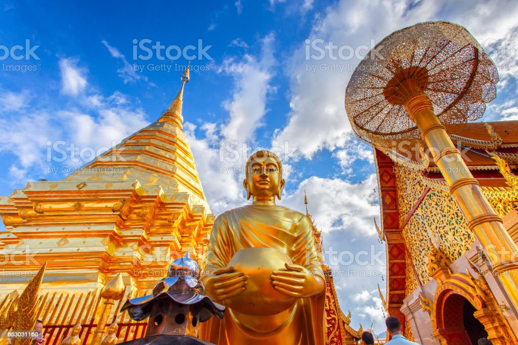 Wat Phra That Doi Suthep is tourist attraction of Chiang Mai, Thailand stock photo
