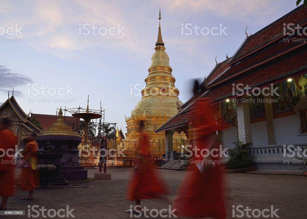 Wat Phra That Hariphunchai is Thai temple in Thailand stock photo