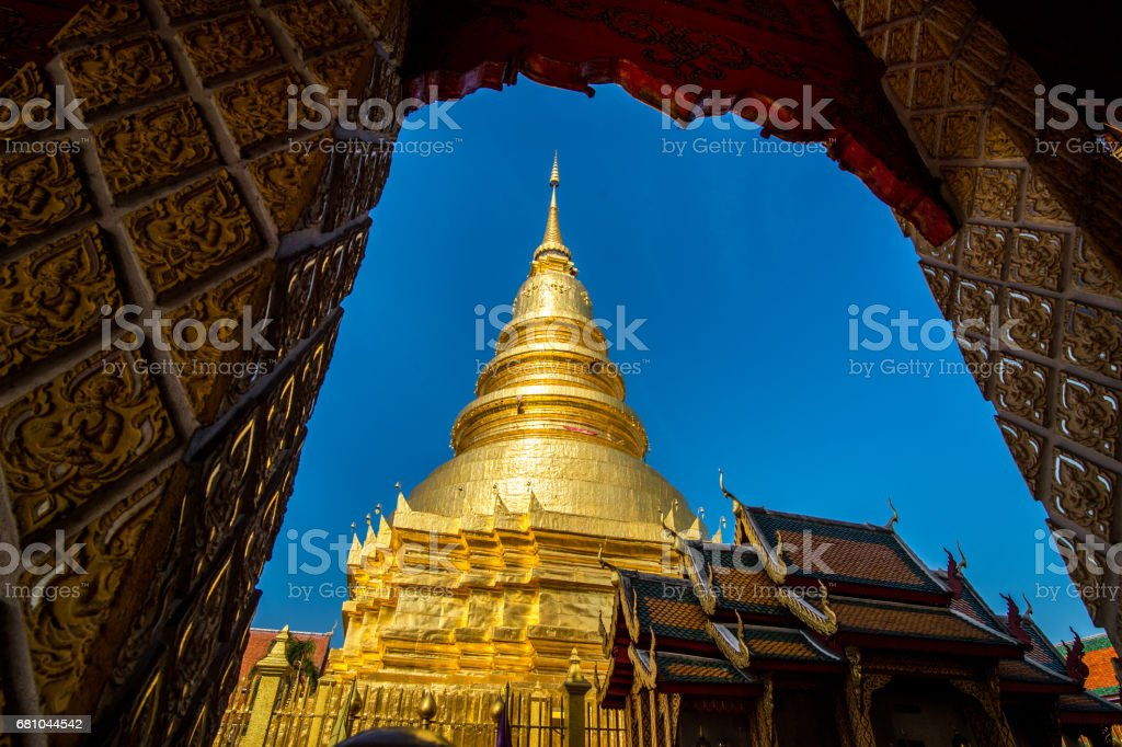 Wat Phra That Hariphunchai Pagoda royalty-free stock photo