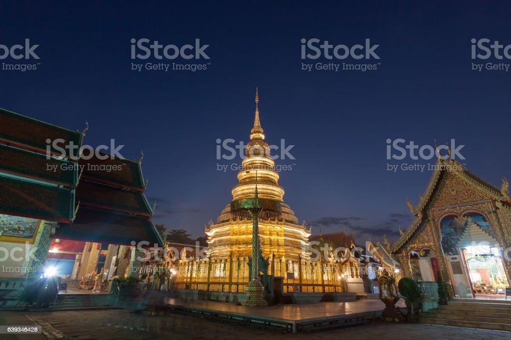 Wat phra that hariphunchai pagoda temple stock photo