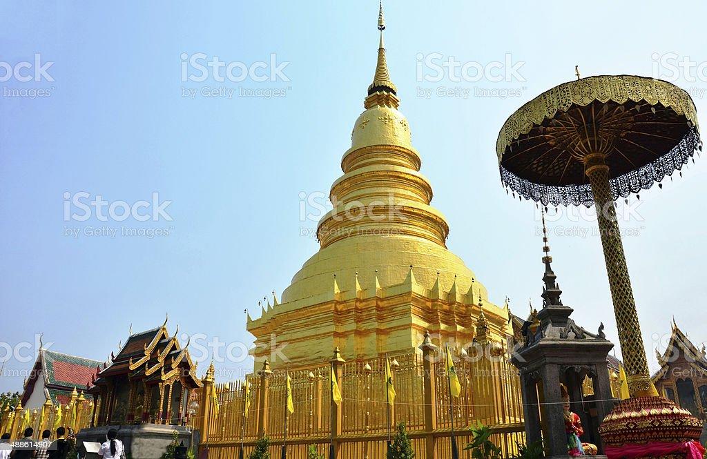 Wat Phra That Hariphunchai stock photo