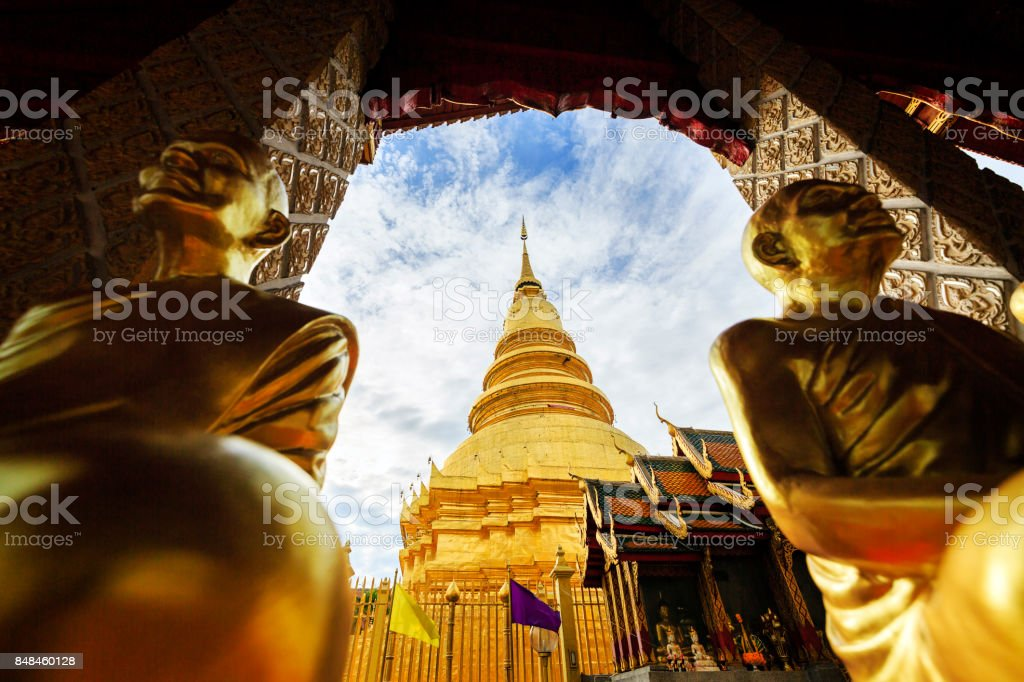 Wat Phra That Hariphunchai, temple in Lamphun Thailand stock photo