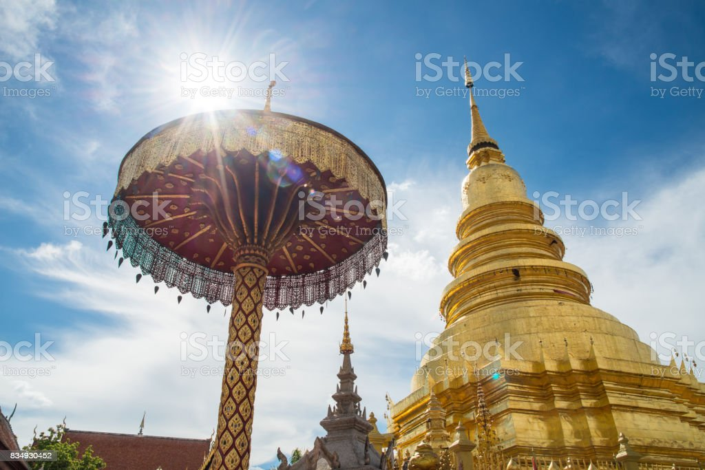 Wat Phra That Hariphunchai the iconic famous temple in Lamphun city, Northern Thailand. stock photo