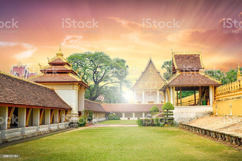 Wat Phra That Luang Vientiane Lao stock photo