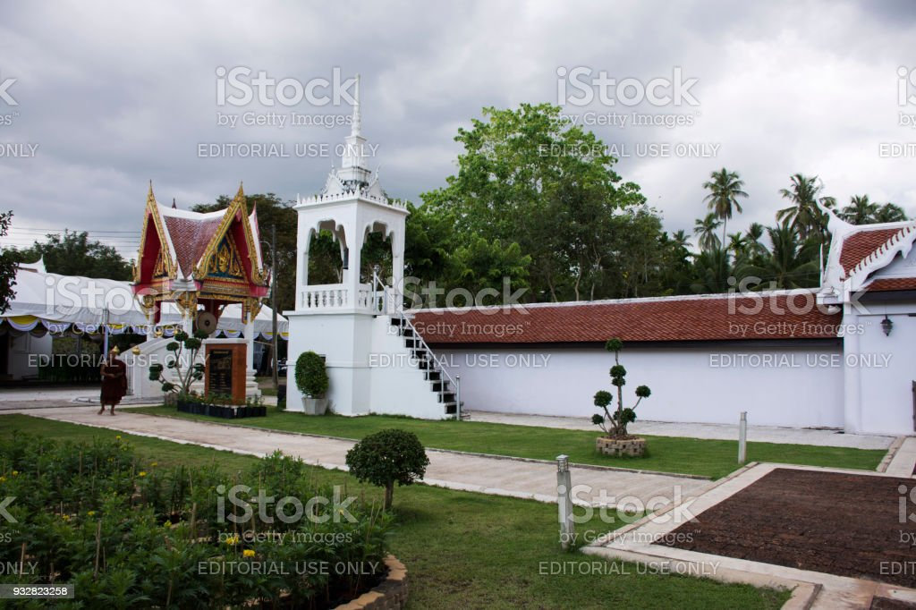 Wat phra that sawi temple while raining storm in Chumphon, Thailand stock photo