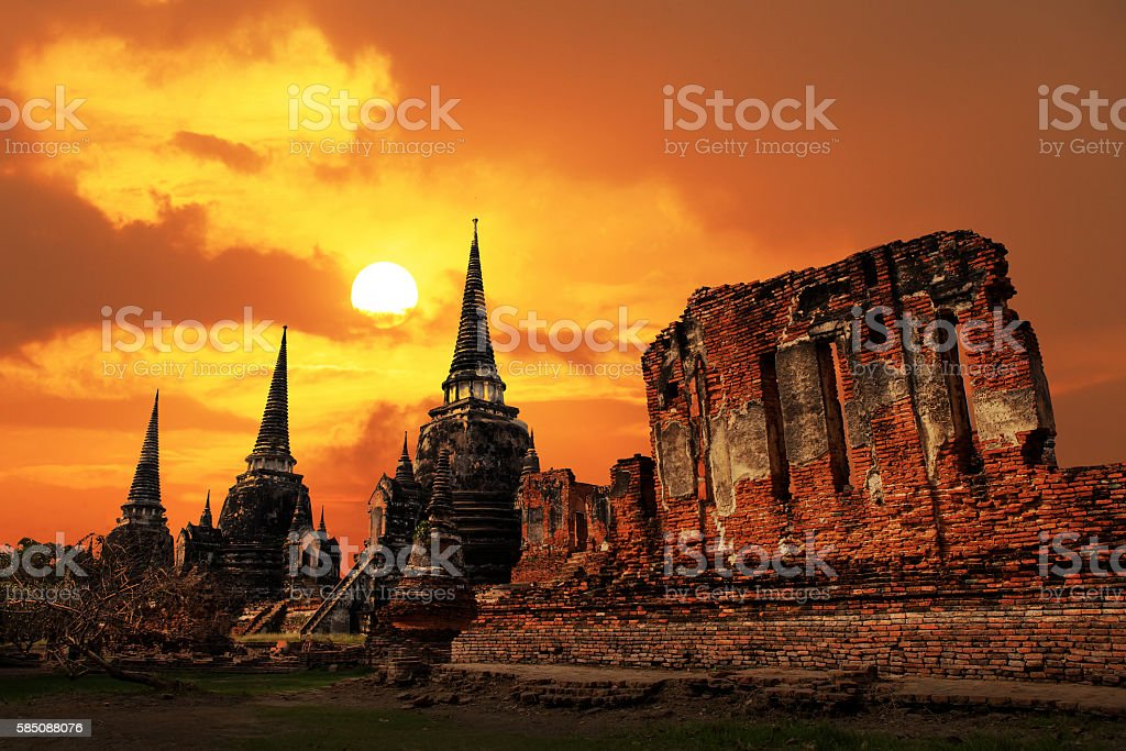 Wat Phrasisanpetch temple at sunset in Ayutthaya Historical Park stock photo