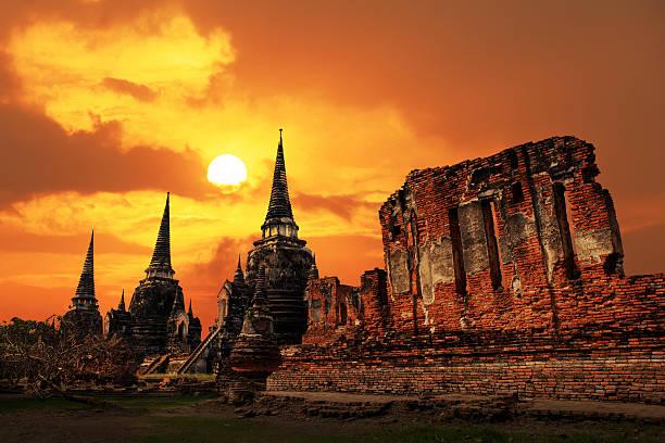 Wat Phrasisanpetch temple at sunset in Ayutthaya Historical Park stock photo