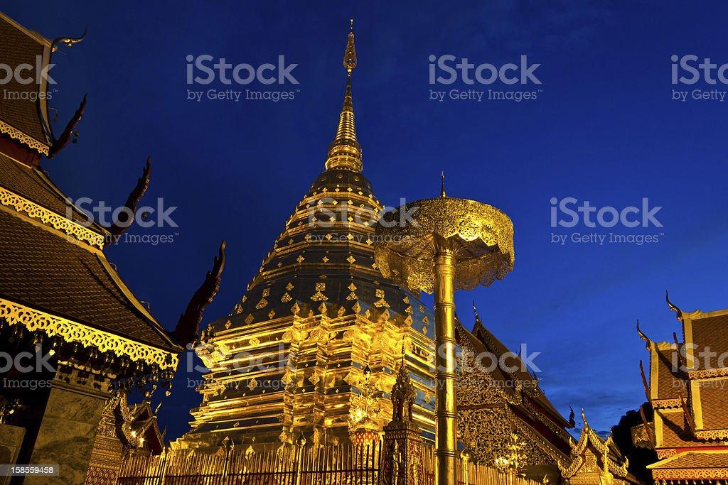 왓 프라탓 도이 수텝 in 쑤판부리 주, Thailand. royalty-free 스톡 사진