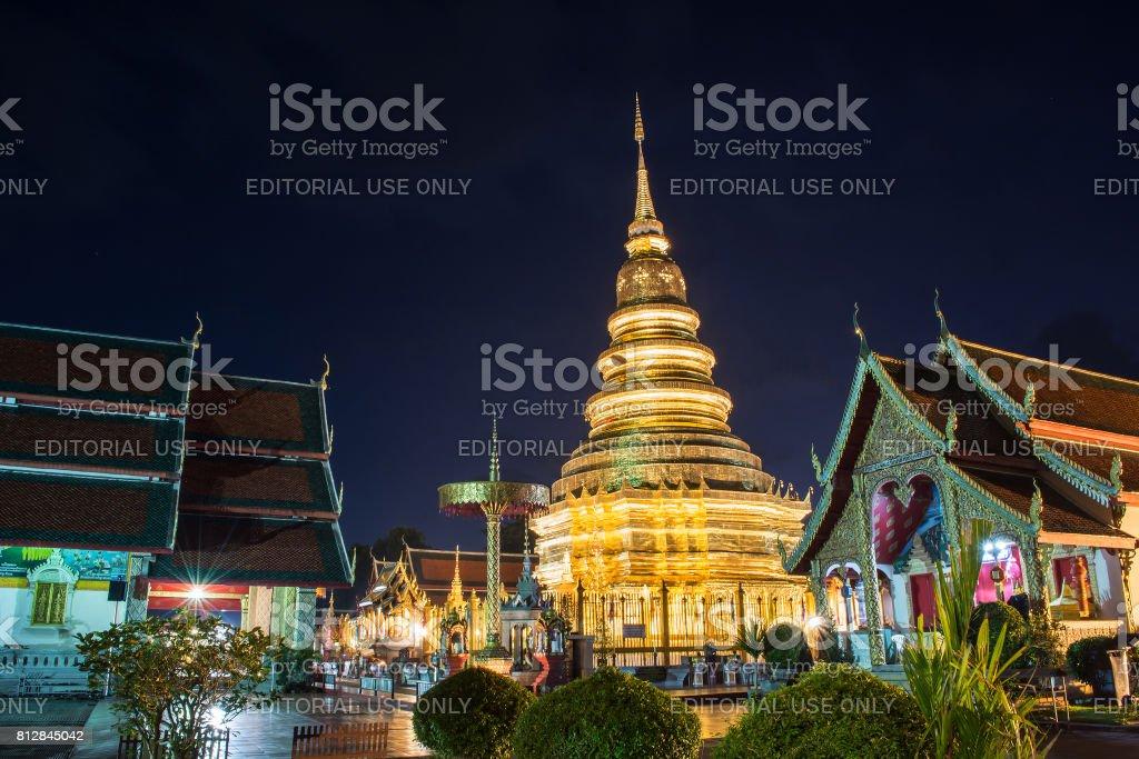Wat Phrathat Hariphunchai Worra Mahawiharn on quiet nights in La stock photo