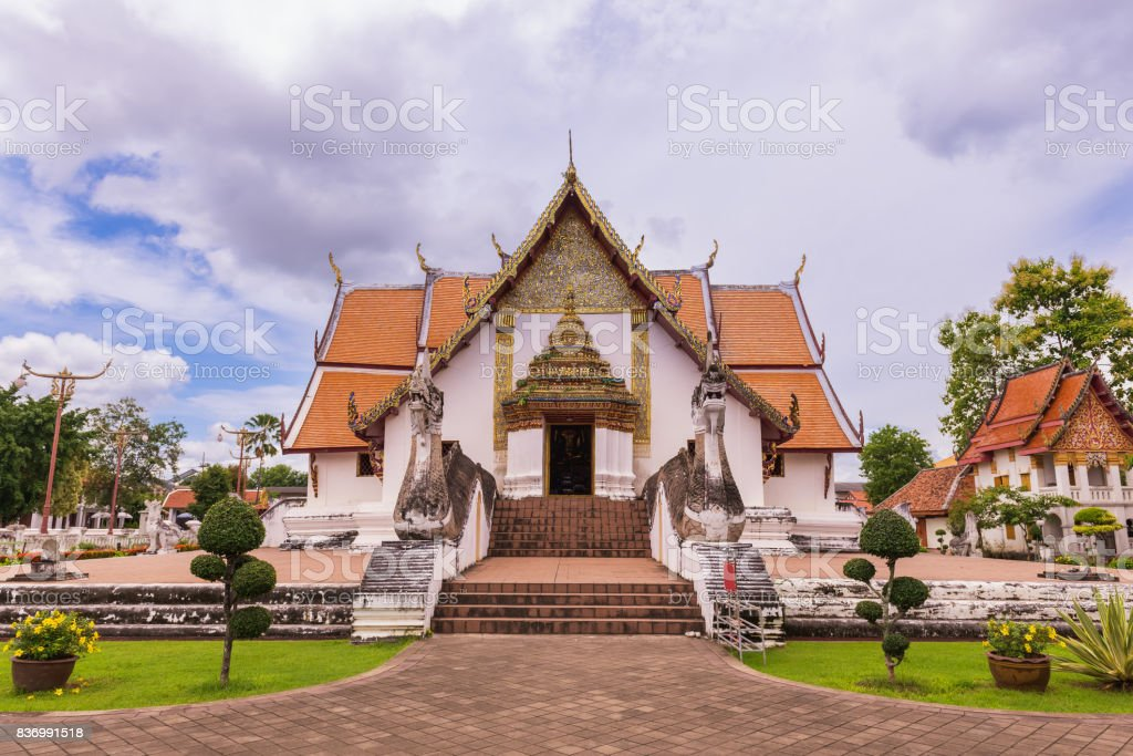 Wat Phumin temple landmark of Nan in day time stock photo