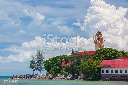 Wat Plai Laem temple. Samui, Thailand Landmark. Scenic View Of Buddhist Pagoda. Temple Complex Wat Phra Yai. Oriental Architecture.