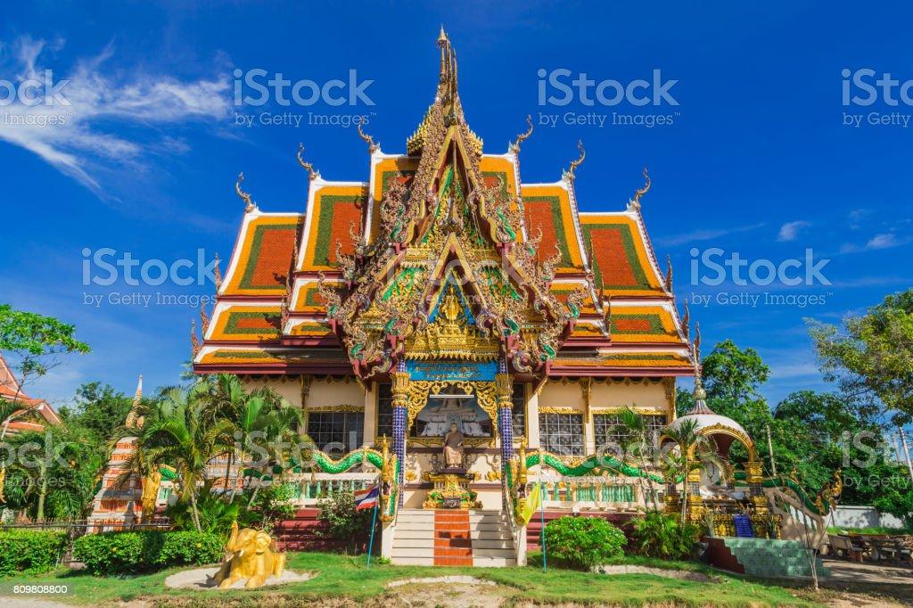 Wat Plai Laem temple. Samui, Thailand Landmark. Scenic View Of Buddhist Pagoda. Temple Complex Wat Phra Yai. Oriental Architecture. Landscape Background stock photo