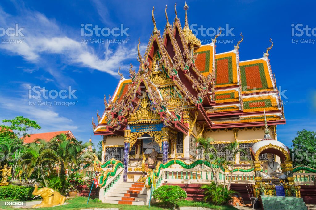 Wat Plai Laem temple. Samui, Thailand Landmark. Scenic View Of Buddhist Pagoda. Temple Complex Wat Phra Yai. Oriental Architecture. Landscape Background stock photo