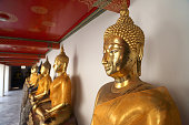Bangkok, Thailand - January 24, 2013: The golden buddha statues in wat Poh at Bangkok, Thailand.