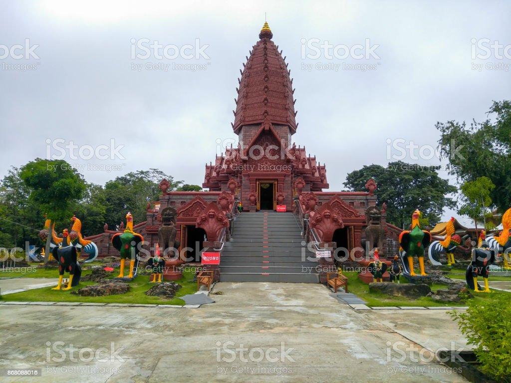 wat pripattana thai stone castle. thai temple khmer style. Sisaket Province. stock photo