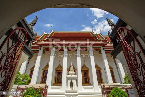 Image of Iron castle Wat Ratchanatdaram with blue sky  in Bangkok, Thailand