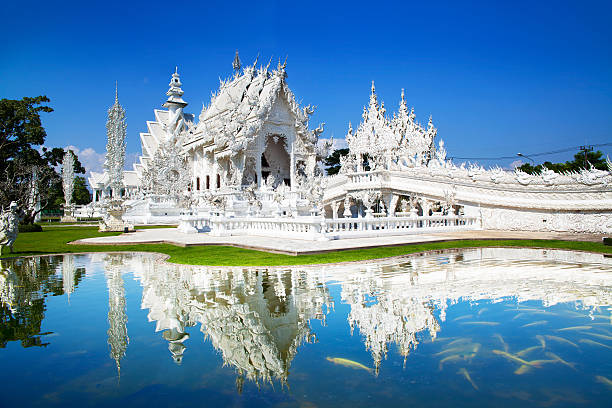 Wat Rong Khun or White Temple, Landmark, Chiang Rai, Thailand. This is a contemporary unconventional Buddhist temple. chiang mai province stock pictures, royalty-free photos & images