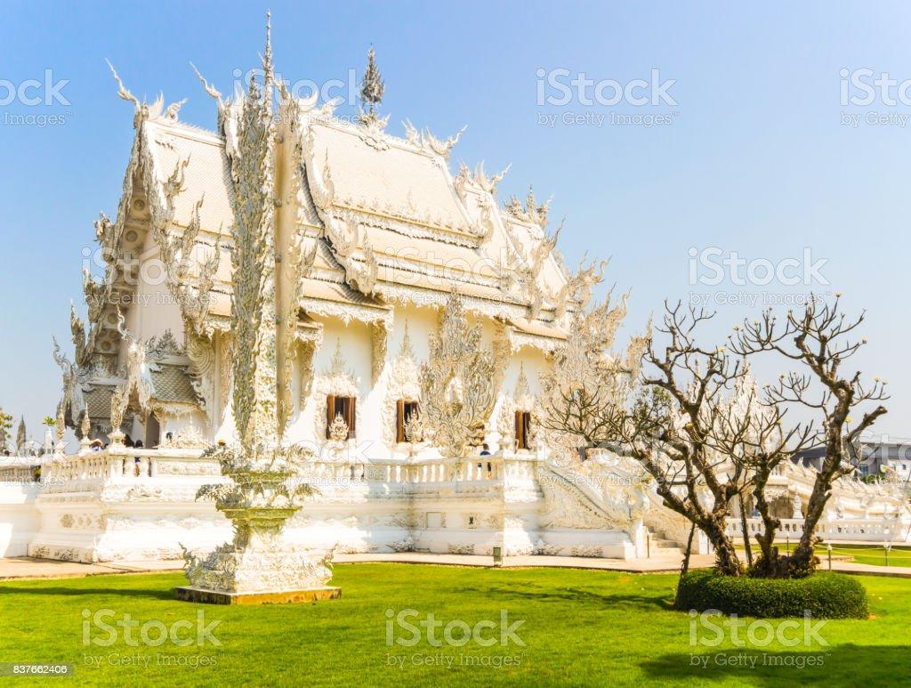 Wat Rong Khun Temple , Famous architecture at Chiang Rai Thailand. stock photo