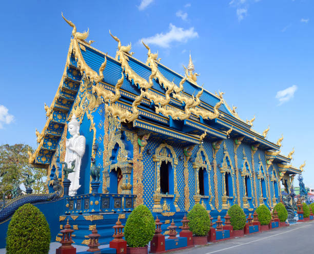 Wat Rong Suea Ten, Blue Temple in Chiang Rai, Thailand stock photo