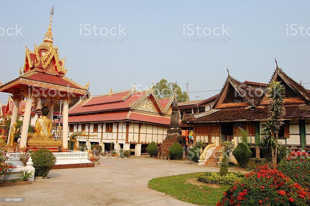 Wat Si Saket temple courtyard, Vientiane Laos stock photo