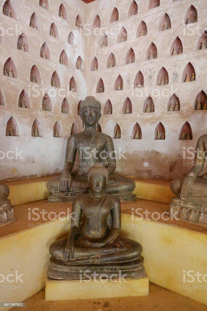 Wat Si Saket, the temple located in Vientiane, Laos. stock photo
