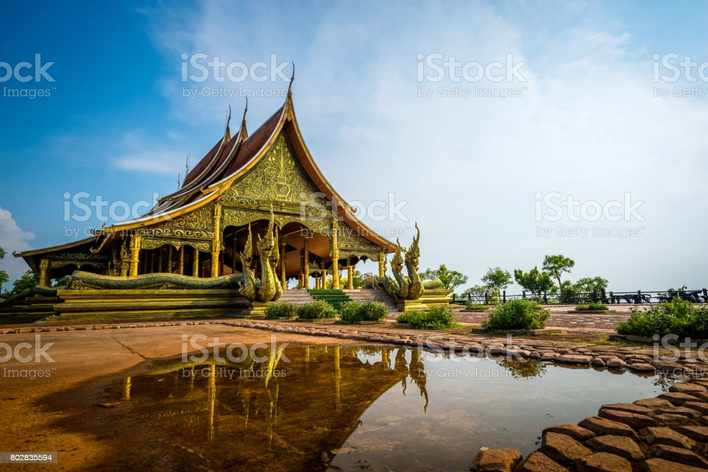 wat Sirindhorn Wararam Phu Prao temple in Ubon Ratchathani, thailand stock photo