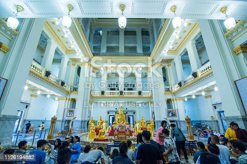istock Wat sothon wararam worawihan with Thai buddhist who believe in religion,The Buddhist famous temple. 1126194882