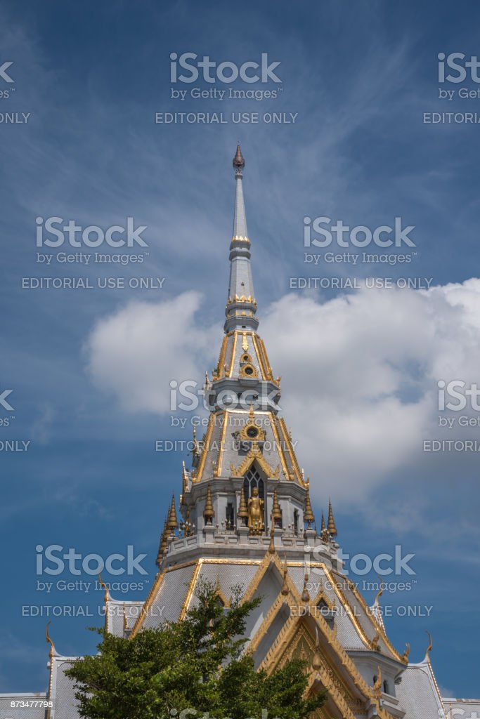 Wat Sothonwararam is temple alongside the Bang Pakong River, initially named Wat Hong stock photo