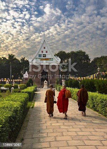 Varanasi, India, November 22, 2015: Three buddhist monks