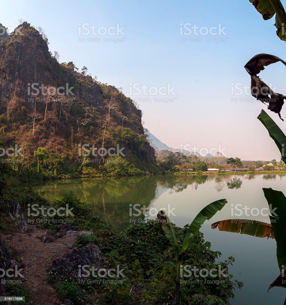 Wat Tham Khao Reservoir stock photo