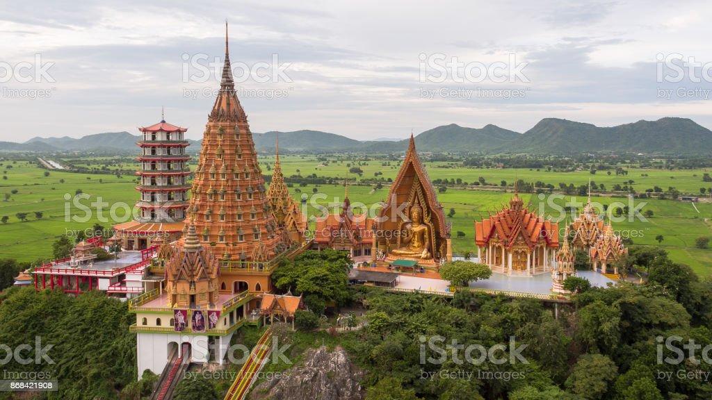 Wat Tham Sua is a public temple in Kanchanaburi, Thailand stock photo