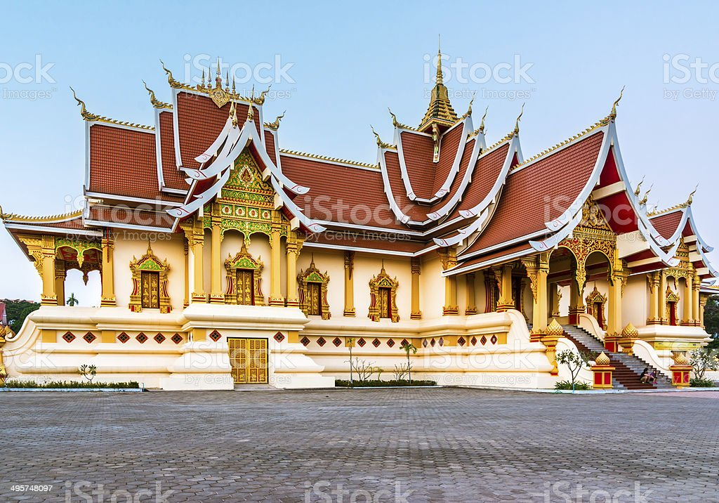 Wat That Luang Tai in Vientine, Laos stock photo