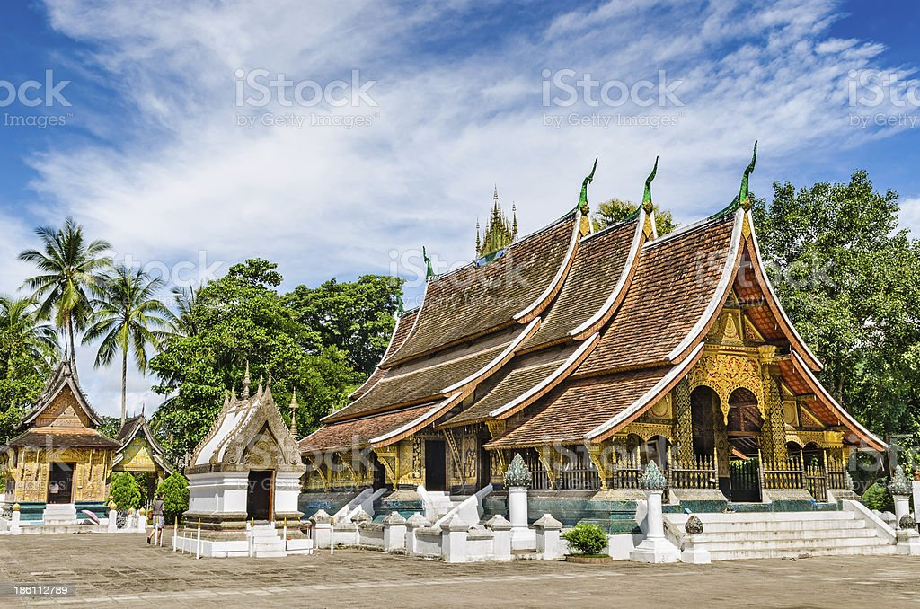 Wat Xieng Thong buddhist temple in Luang Pra Bang in Laos stock photo