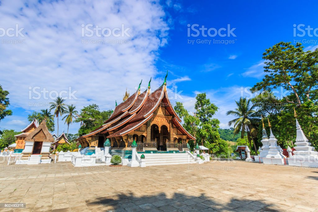 Wat Xieng Thong (Golden City Temple) in Luang Prabang, Laos. Xieng Thong temple is one of the most important of Lao monasteries stock photo