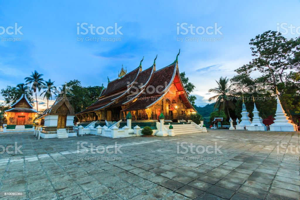 Wat Xieng Thong (Golden City Temple) in Luang Prabang, Laos. Xieng Thong temple is one of the most important of Lao monasteries. stock photo