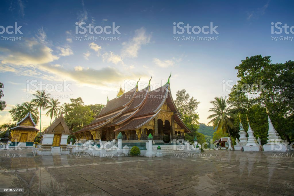 Wat Xieng Thong (Golden City Temple) in Luang Prabang, Laos. Xieng Thong temple is one of the most important of Lao monasteries, Amazing in Laos. stock photo