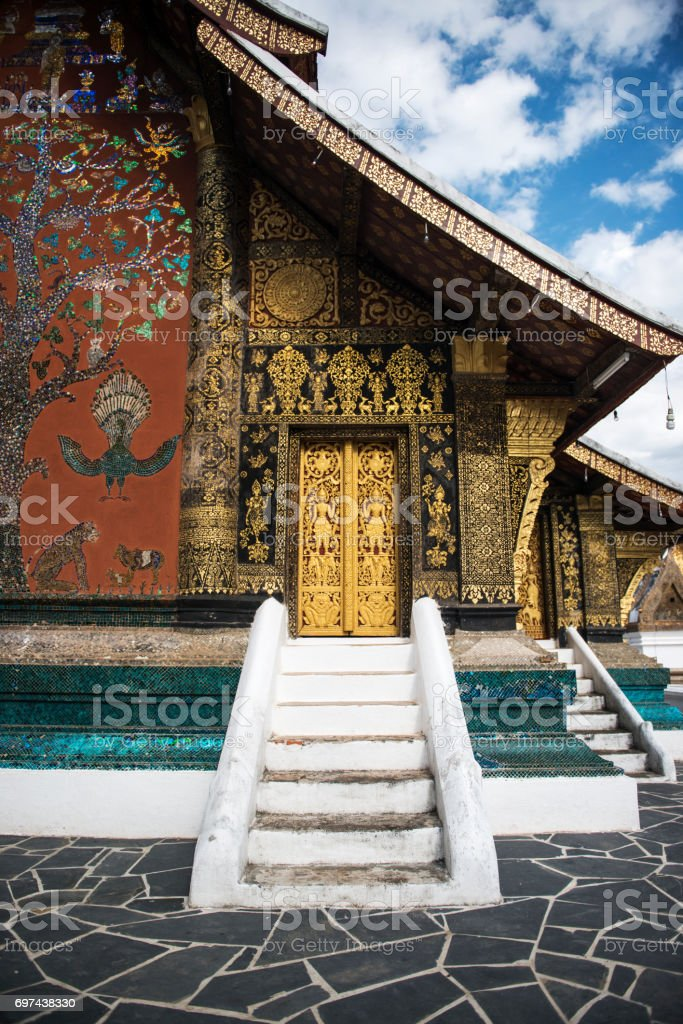 Wat Xieng Thong temple, The most important buddhist temple in Luang Prabang, Laos. stock photo