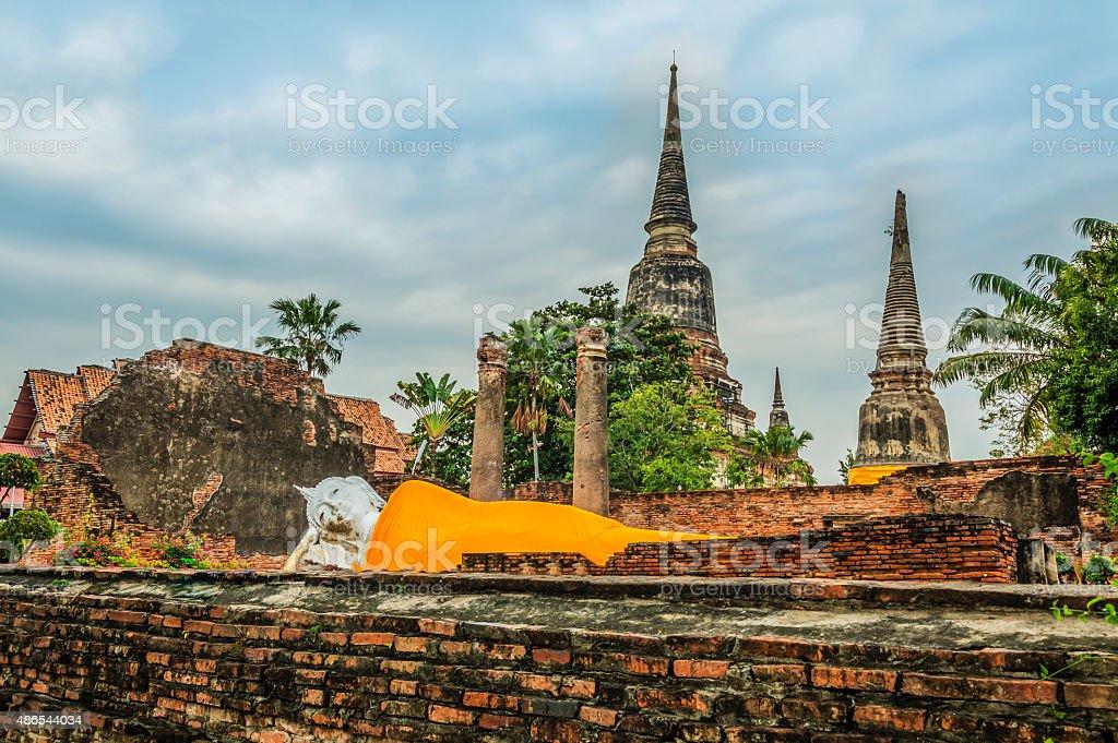 Wat Yai Chai mongkhon in thailand stock photo