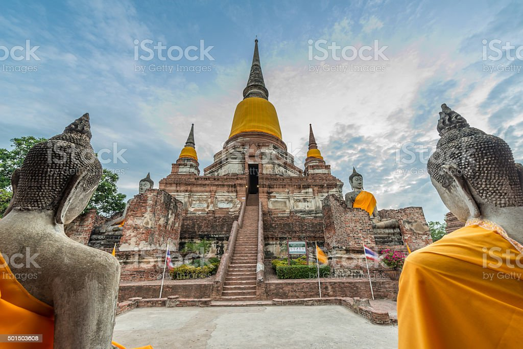 Wat Yai Chai Mongkol at Ayutthaya, Thailand stock photo