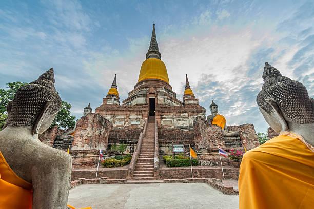 Wat Yai Chai Mongkol at Ayutthaya, Thailand stock photo