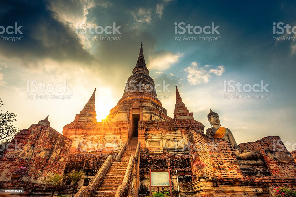 Wat Yai Chai Mongkol Bangkok stock photo