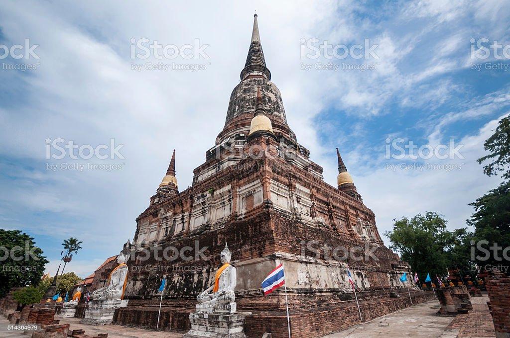 Wat Yai Chai Mongkol in Ayutthaya stock photo