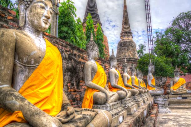 wat yai chai mongkon Ayutthaya stock photo