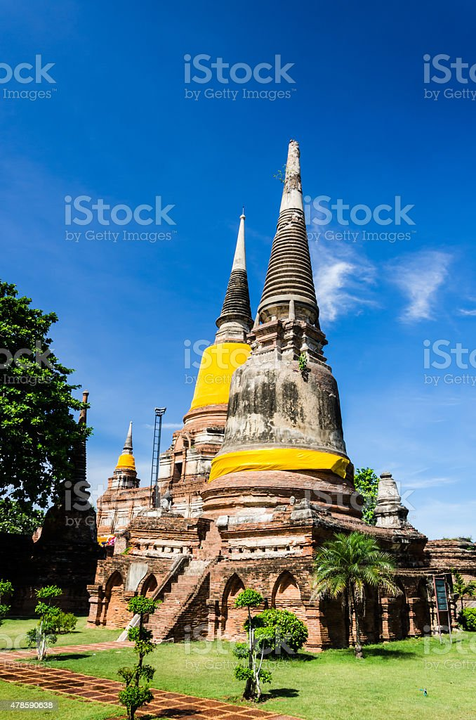 Wat Yai Chaimongkhon, temple in Ayutthaya Thailand. stock photo