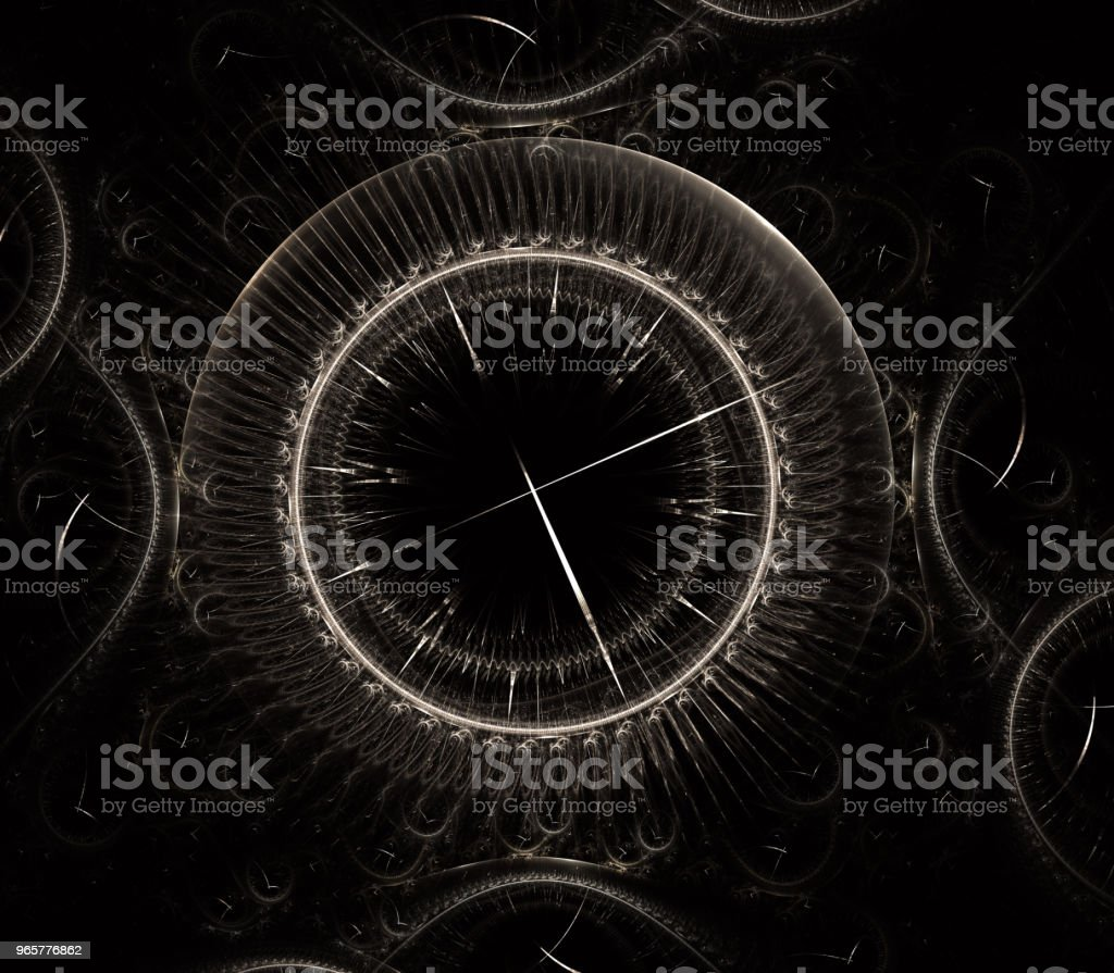 Watch 3D digital fractal design. Vintage time clock series. Design composed of time and fractal geometry symbols as a metaphor on the subject of past, future, time travel and modern science - Royalty-free Archival Stock Photo