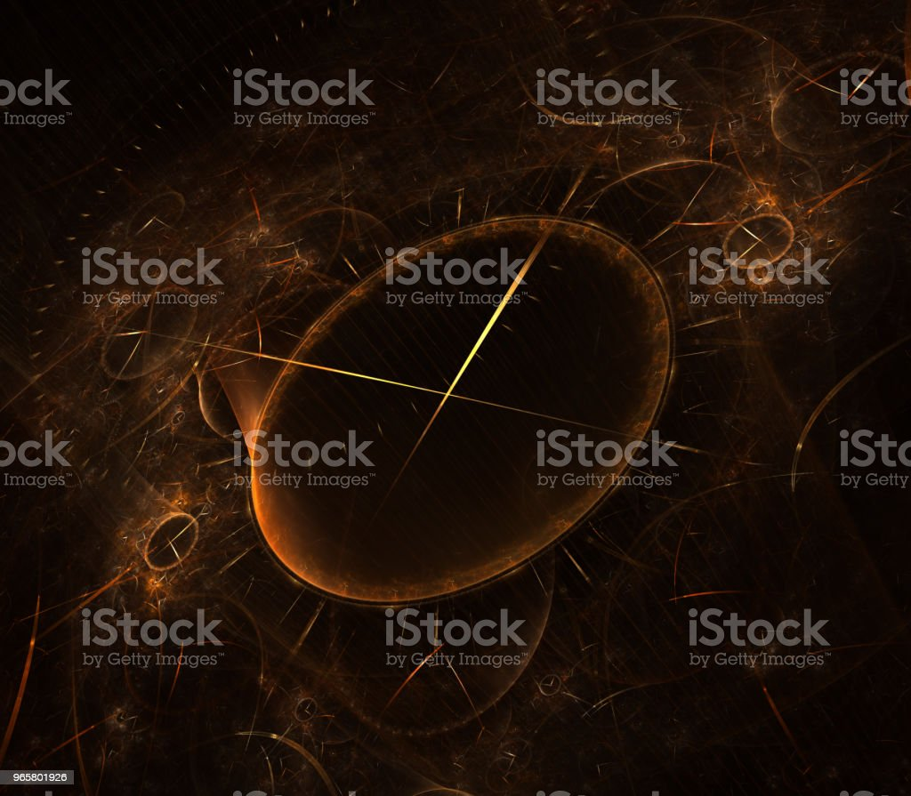 Bekijk 3D digitale fractal design. Vintage time klok serie. Ontwerp bestaat uit tijd en fractale geometrie symbolen als een metafoor over het onderwerp van het verleden, toekomst, tijdreizen en moderne wetenschap - Royalty-free Afbeelding Stockfoto