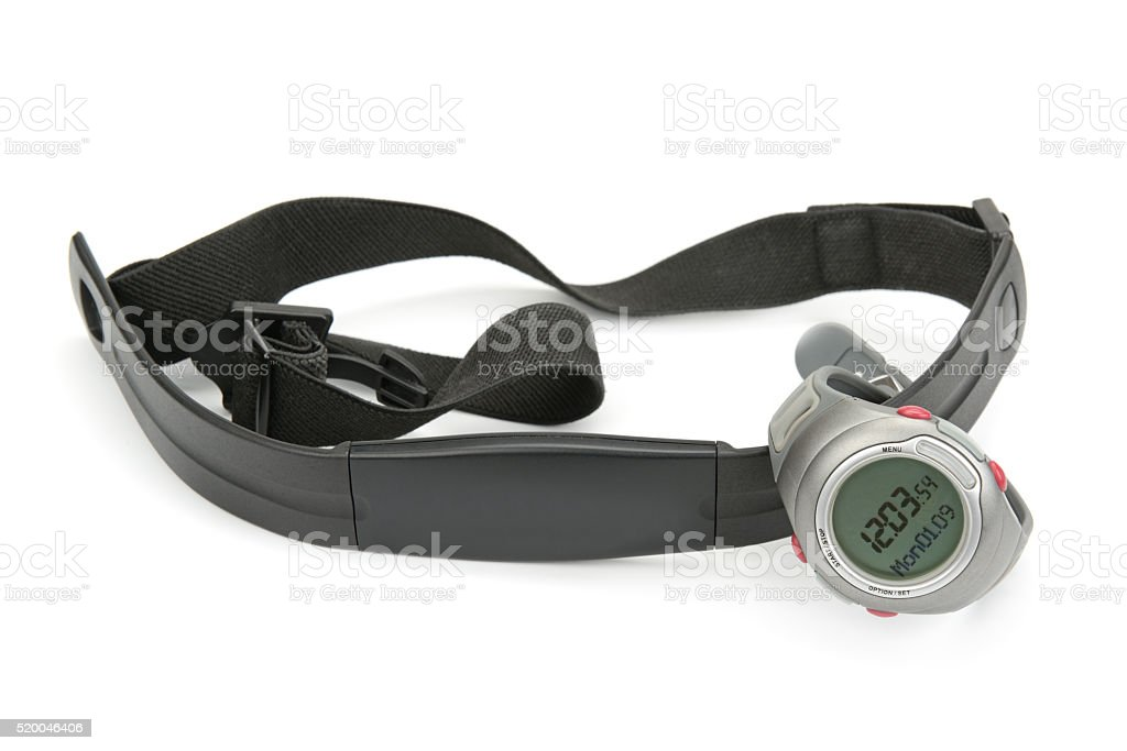 Watch And Chest Strap Of Heart Rate Monitor Stock Photo