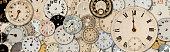 Antique watch faces steam punk banner\