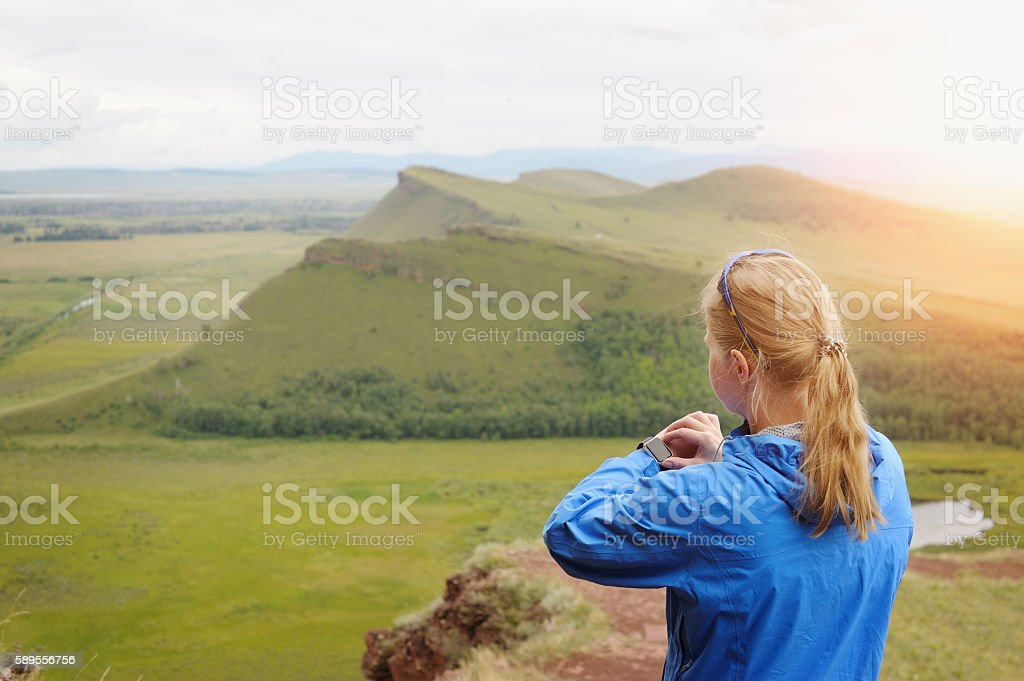 Watch for sports with stop watch. Jogging training for marathon. stock photo